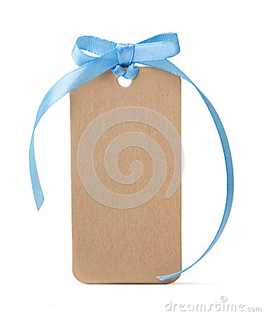 Tag label with blue ribbon bow isolated