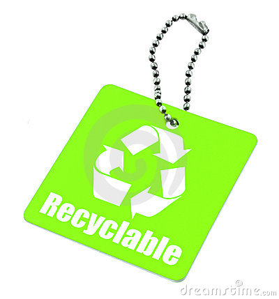Tag with recyclable symbol