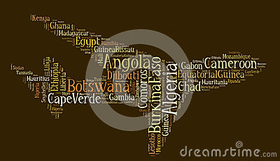 Tag or word cloud Africa related in shape of airplane