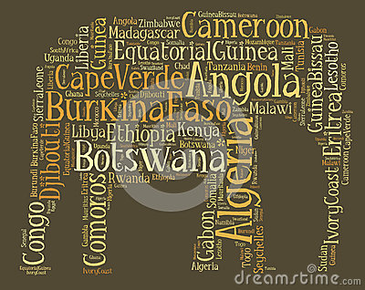 Tag or word cloud Africa related in shape of elephant