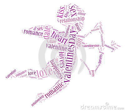 Tag or word cloud love related in shape of cupid