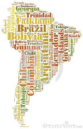 Tag or word cloud South America countries related