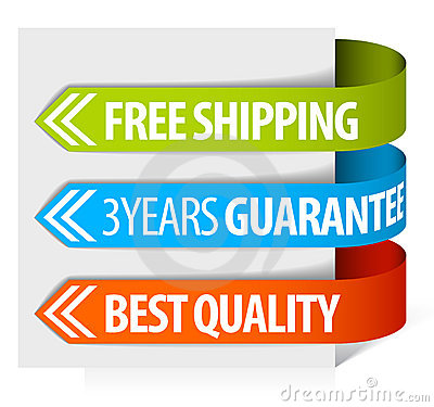 Tags for free shipping, guarantee and quality