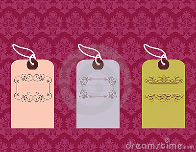 Tags with ornate designs