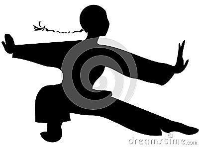 Tai chi black silhouette