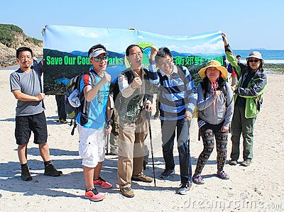 Tai Long Sai Wan hiking event in Hong Kong Editorial Photo