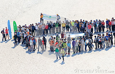 Tai Long Sai Wan hiking event in Hong Kong Editorial Stock Photo