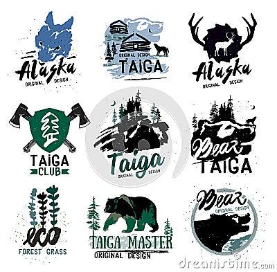 Free Taiga Logo Sign. Forest Logotype. Bear Taiga Emblems. Vintage Camping Logo. Stock Photo - 65925260