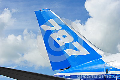 Tail of Boeing 787 Dreamliner aircraft at Singapore Airshow 2012 Editorial Stock Photo