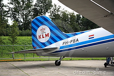 Tail of old KLM DC-3 Editorial Stock Image