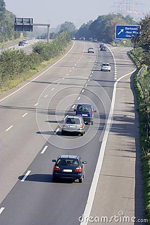 Free Tailgating On A Three-lane Autobahn Stock Image - 1491641