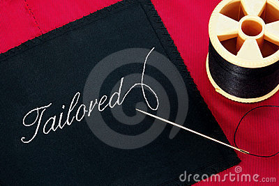 Tailored label on red silk lining