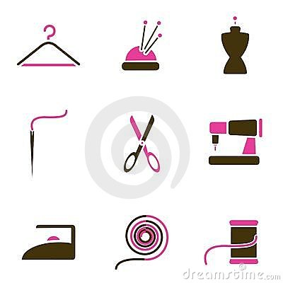 Tailoring object icon set vector