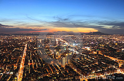 Taipei.Panoramic city skyline at sunset
