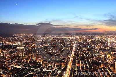 Taipei.Panoramic city skyline in sunset