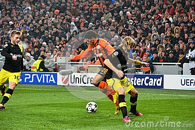 Taison in the match against Borussia Dortmund Editorial Image