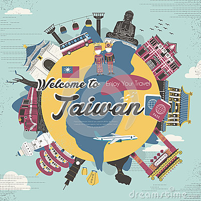Free Taiwan Attractions Collection In Flat Design Style Royalty Free Stock Images - 59577419