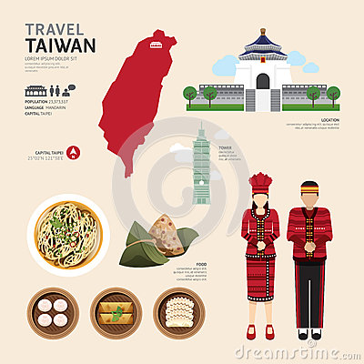 Free Taiwan Flat Icons Design Travel Concept.Vector Stock Photos - 59695003