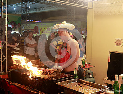 Taiwan grilled meat night sight Editorial Stock Photo