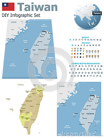 Taiwan maps with markers
