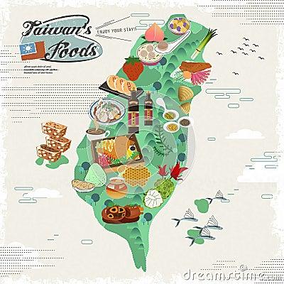 Free Taiwan Snacks Map Stock Image - 60959511