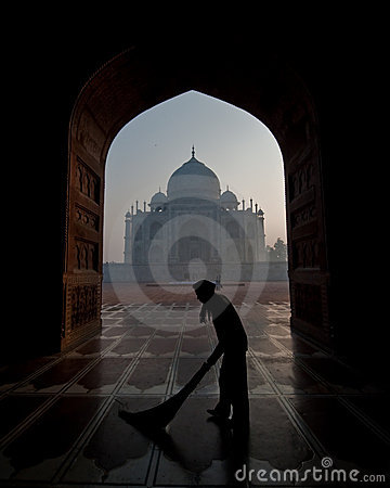 Taj Mahal framed through a door