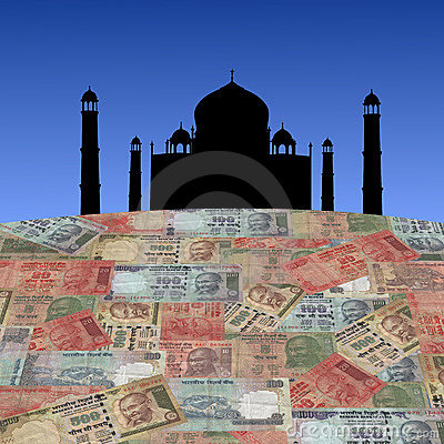 Taj Mahal with Indian rupees