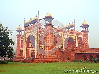 Taj Mahal mausoleum entrance in India