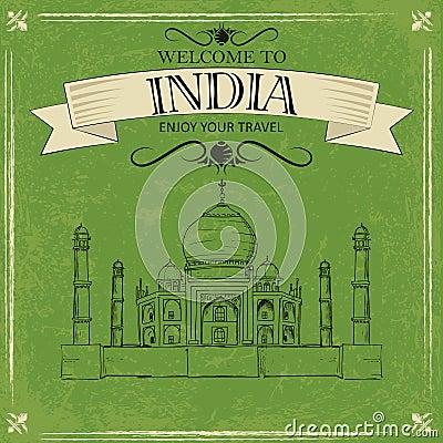 Free Taj Mahal Of India For Retro Travel Poster Royalty Free Stock Image - 33343306