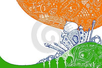 Taj Mahal on Tricolor