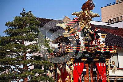 Takayama festival: children sit on majestic floats Editorial Photography