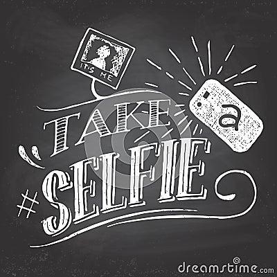 Free Take A Selfie On Blackboard Stock Photo - 46883000