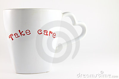 Take care word on a lover cup of coffee