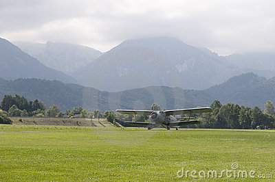 Take-off of biplane