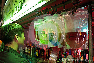 Take-out alcohol cocktail street shop Editorial Stock Photo