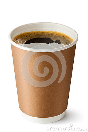 Free Take-out Coffee In Opened Thermo Cup Stock Photos - 27857653