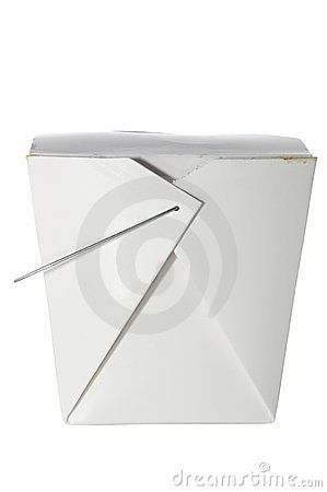 Take out container on white with clipping path