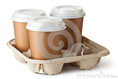 Take-out kaffe tre i hållare