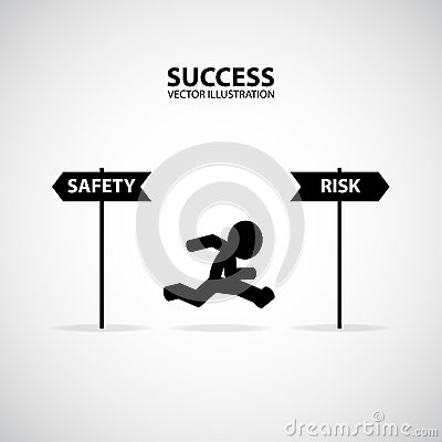 Take A Risk. Silhouette Graphic Design. Success Concept. Vector Illustration