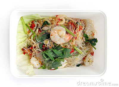Takeaway thai food seafood salad