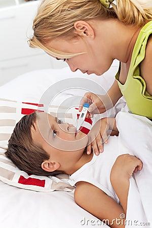 Taking child s temperature