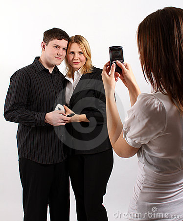 Taking a picture of a nice couple