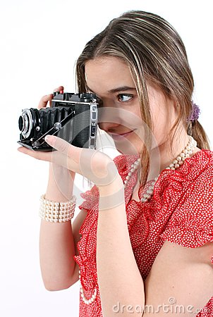 Taking a picture with vintage camera