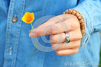 Takinng an orange flower