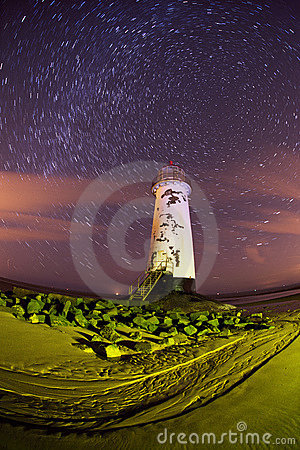 Talacre lighthouse at night with star trails