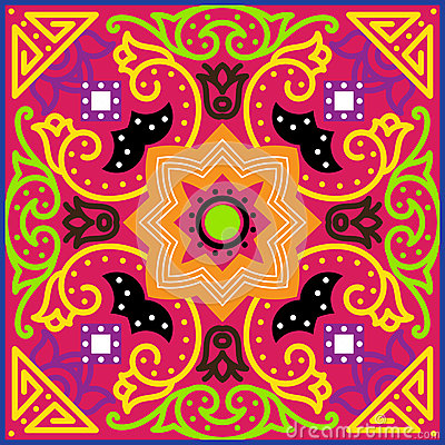 Free Talavera Tile. Vibrant Mexican Seamless Pattern, Royalty Free Stock Photography - 67978077