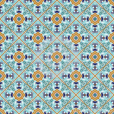 Free Talavera Tile. Vibrant Mexican Seamless Pattern, Royalty Free Stock Photography - 68068117