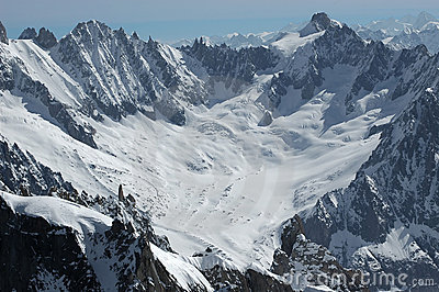 Talefre Glacier and summits on the Mt Blanc