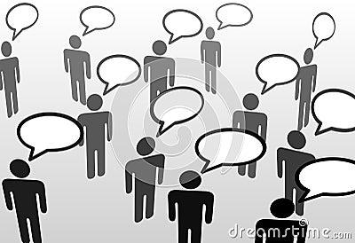 Talking speech bubble communication people