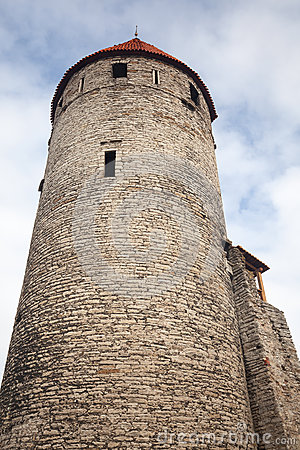 Tall Ancient Stone Tower Old Tallinn Stock Image Image